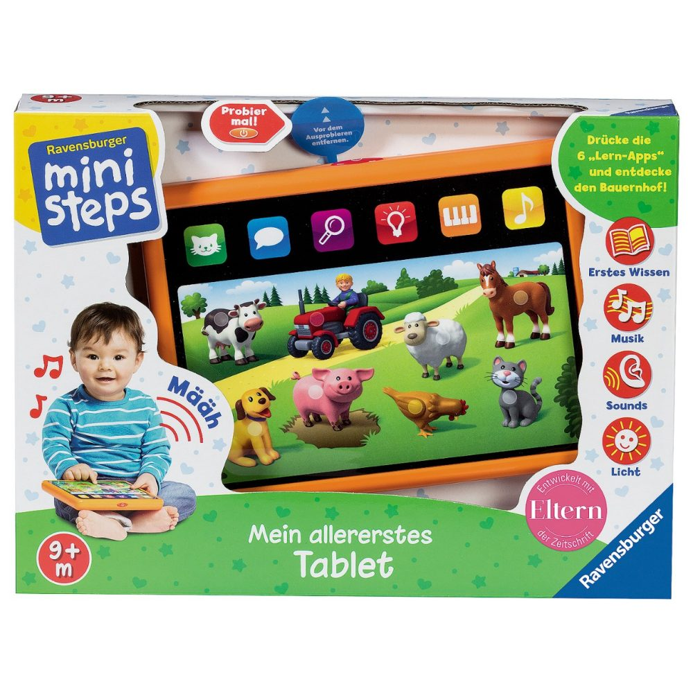 ravensburger ministeps kindertablet mein allererstes tablet spielzeug f r kleinkinder baby. Black Bedroom Furniture Sets. Home Design Ideas